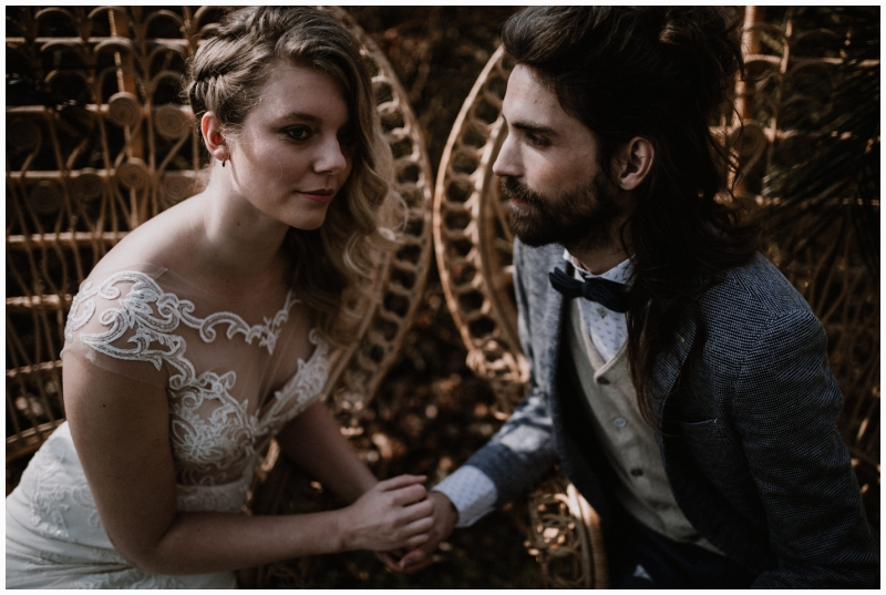 boho wedding shoot zeeland woods ceremony