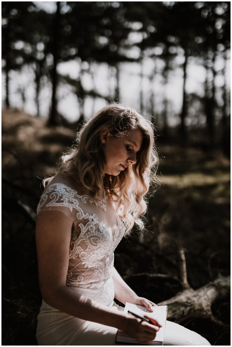 boho wedding shoot zeeland woods ceremony vows bride
