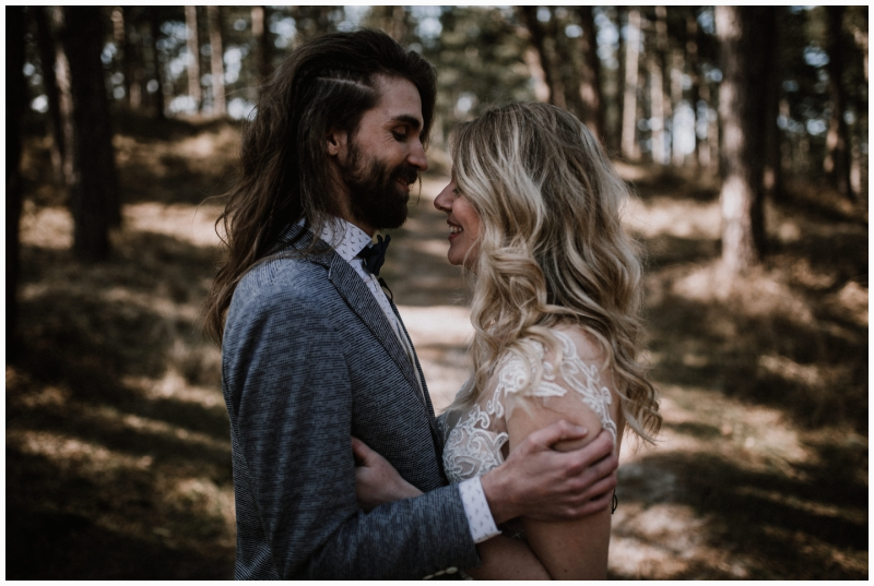 boho wedding shoot zeeland woods ceremony moody