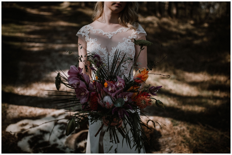 boho wedding shoot zeeland woods ceremony wedding bouquet
