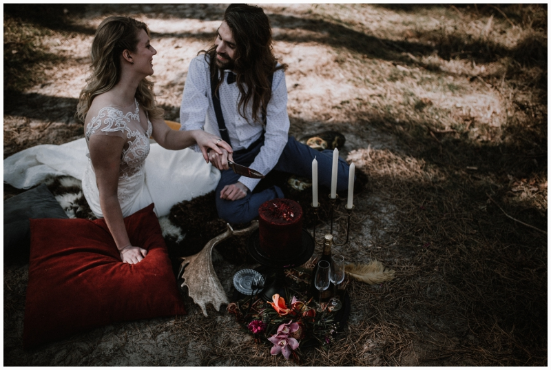 boho wedding shoot zeeland woods ceremony wedding cake