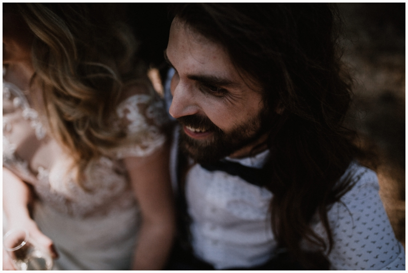 boho wedding shoot zeeland woods ceremony groom