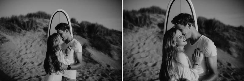 loveshoot couple beach surfing zeeland joran looij photography